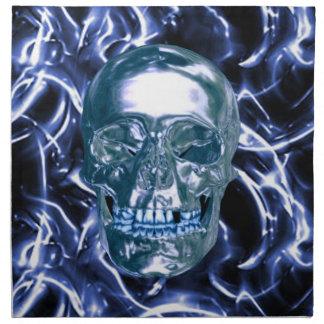 電気青いクロムスカルのナプキン ナプキンクロス