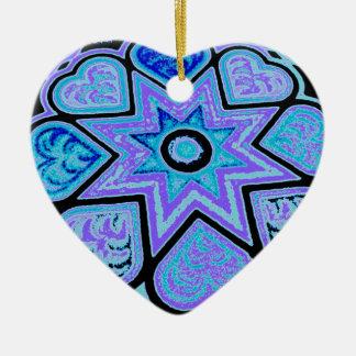 電気青いハート及び星のオーナメント 陶器製ハート型オーナメント