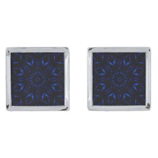 電気青い万華鏡のように千変万化するパターンのカフスボタン 銀色 カフリンク