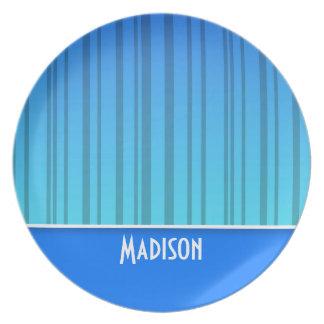 電気青い縦ストライプ; ストライプの プレート