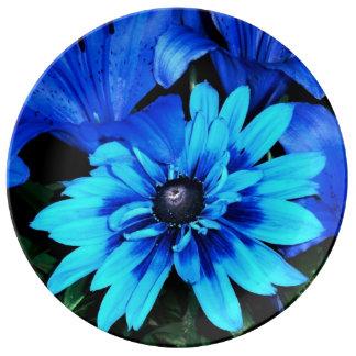 電気青い花 磁器プレート