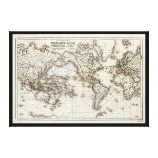 電線(1871年)を示すヴィンテージの世界地図 キャンバスプリント