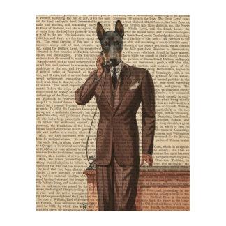 電話のドーベルマン犬 ウッドウォールアート