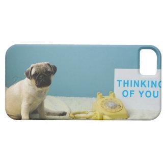 電話の隣にベッドに坐っているパグの子犬 iPhone SE/5/5s ケース