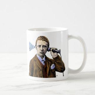 電話を持つ人 コーヒーマグカップ