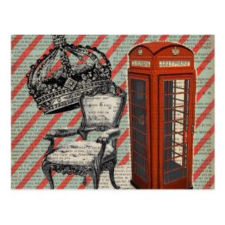 電話ボックスのビクトリアンな記念祭の王冠ロンドン ポストカード