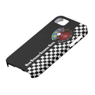 電話箱、チェッカーボードのNOSGのロゴ iPhone SE/5/5s ケース