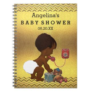電話金ゴールドのシェブロンの来客名簿の民族の赤ん坊 ノートブック