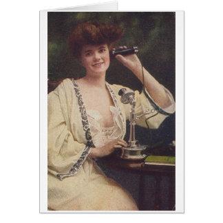 電話、挨拶状の女性 カード