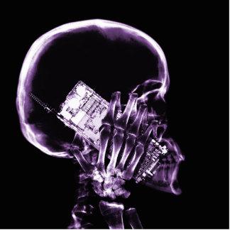 電話-紫色のX線の骨組 写真彫刻(台付き)