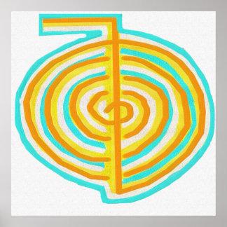 霊気の代わりとなる自然な治療の記号Chokurei ポスター
