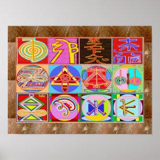 霊気の宇宙治療の記号の教祖のマスターのスピリチュアル ポスター