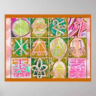 霊気Karuna: ヴィンテージのスタイルの芸術の記号 ポスター