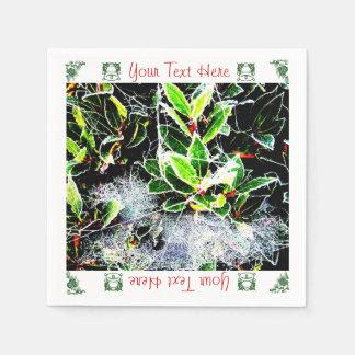 霜によってカバーされるヒイラギおよびクモの巣のクリスマスのデザイン スタンダードカクテルナプキン