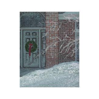 霜の降りたな休日のドア キャンバスプリント
