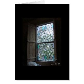 霜の降りたな冬の窓の空白のなカード カード