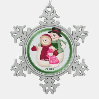 霜の降りたな雪だるま家族-ピンク スノーフレークピューターオーナメント