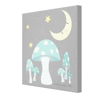 霜の降りたな青のきのこのフクロウ及び月 キャンバスプリント