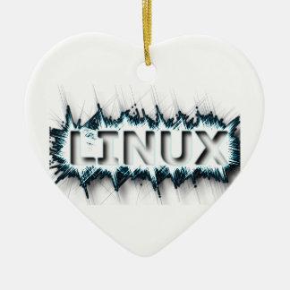 霜の降りたなLINUX 陶器製ハート型オーナメント
