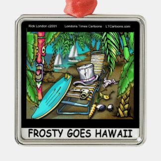 霜の降りたハワイのおもしろいなクリスマスは行きます メタルオーナメント