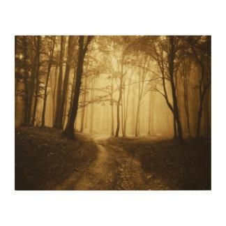 霧が付いている暗い森林の道 ウッドウォールアート