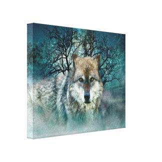 霧のオオカミの満月 キャンバスプリント