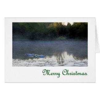 霧のメリークリスマスの白鳥 カード