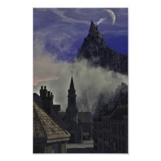 霧の奇妙で高い家 フォトプリント