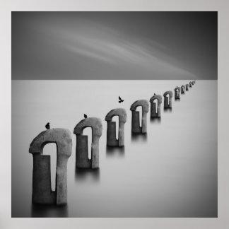 霧の白黒ファインアートの写真撮影の海 ポスター