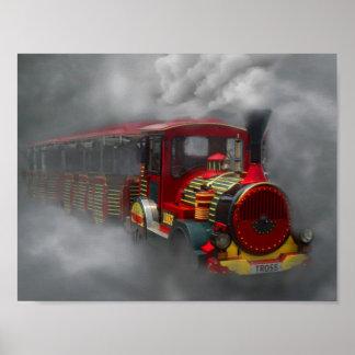 霧の霧深い旅行の列車 ポスター