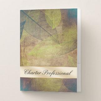 霧は葉に緑の専門の自然をエレガント去ります ポケットフォルダー