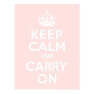 霧深いばら色のKeep Calm and Carry On ポストカード