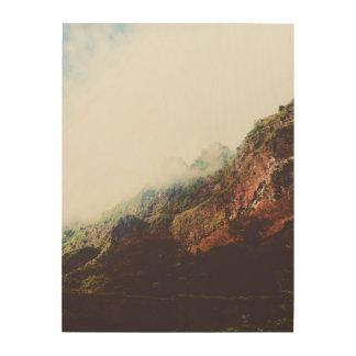 霧深い山、リラックスさせるな自然の景色場面 ウッドウォールアート