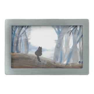 霧深い朝の子猫 長方形ベルトバックル