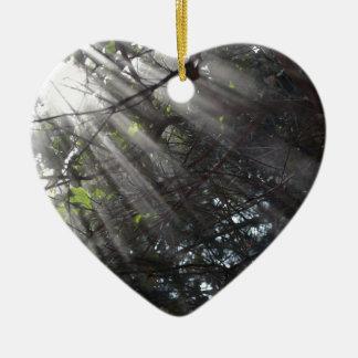 霧深い森林のSunrays セラミックオーナメント