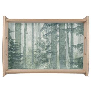 霧深い森林トレイ トレー