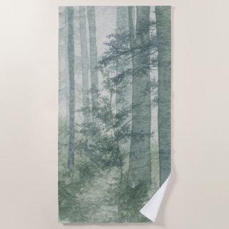 霧深い森林ビーチタオル ビーチタオル