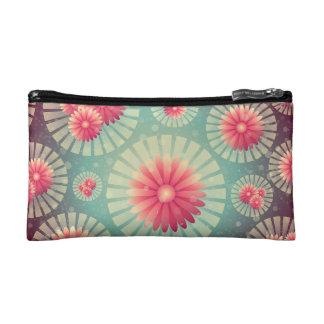 霧深い緑およびピンクのデイジーの化粧品のバッグ コスメティックバッグ