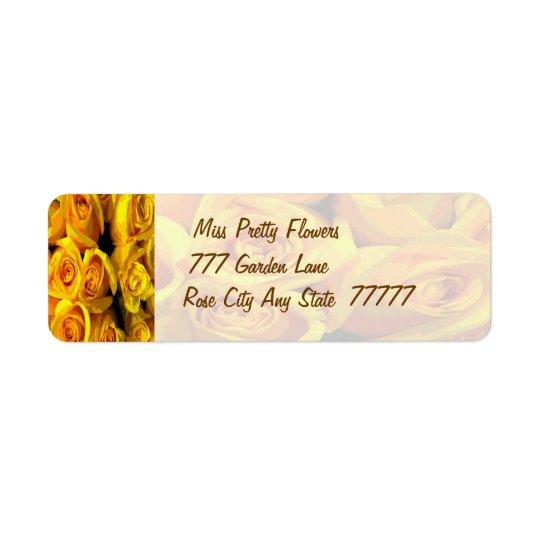 霧深い金黄色バラ 返信用宛名ラベル