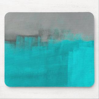 「霧深い」灰色およびターコイズの抽象美術 マウスパッド