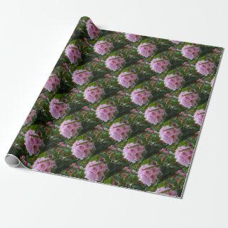 露が付いているピンクの花 ラッピングペーパー