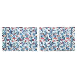 青いあずき色および杏子の熱帯魚パターン 枕カバー