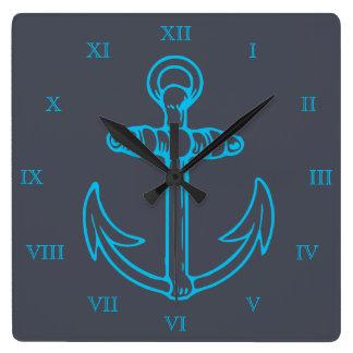 青いいかりのローマ数字船かボート スクエア壁時計