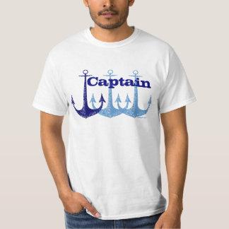 青いいかりの大尉の航海のな名前入り Tシャツ