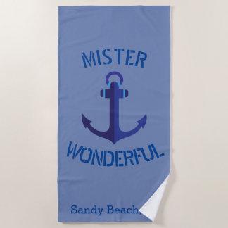 青いいかりの氏すばらしく航海のなテーマ ビーチタオル