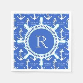 青いいかりの沿岸航海のなモノグラム スタンダードカクテルナプキン