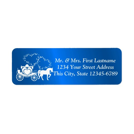 青いおとぎ話のキャリッジおよびハート 返信用宛名ラベル