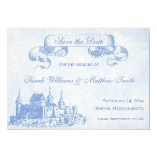青いおとぎ話の結婚式の保存日付 カード