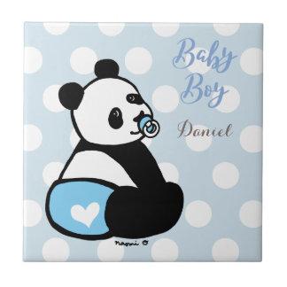 青いおむつのタイルのベビーのパンダの男の赤ちゃん タイル