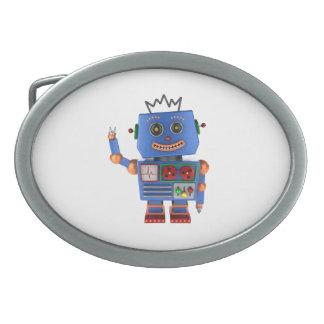 青いおもちゃのロボット振るこんにちは 卵形バックル